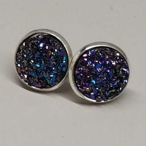 Jewelry - 2 for $10 💖 Dark blue/purple glitter druzy studs